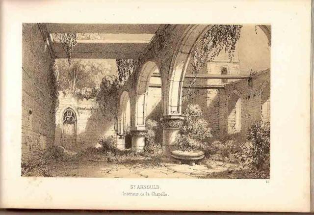 Ruines intérieures de l'église, dessin de Charles Mozin 1850.