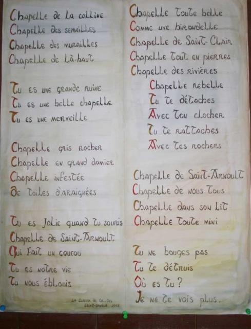 Poème collectif écrit, au XXIème siècle, par des élèves de CM1/CM2 de l'école de Saint-Arnoult